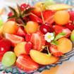 Erdbeeren und Melonenkugeln