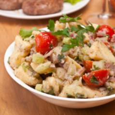 kartoffelsalat mit rindfleisch salate rohkost kochgourmet. Black Bedroom Furniture Sets. Home Design Ideas