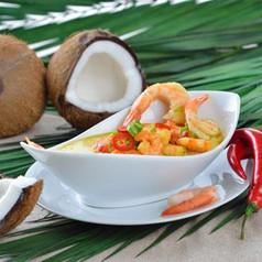 Kokosnuss-Curry Suppe mit Garnelen
