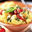 Makkaroni mit Basilikumpesto und Tomaten