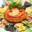 Panierte Gemüselaibchen mit Pasta Carbonara