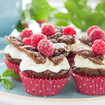 Schoko-Vanille-Muffins mit Himbeeren