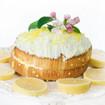 Zitronenkuchen mit Mandelkrokant und Ananas